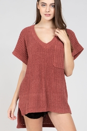 POL  Hi-Lo Short Sleeve Chenille Sweater - Product Mini Image