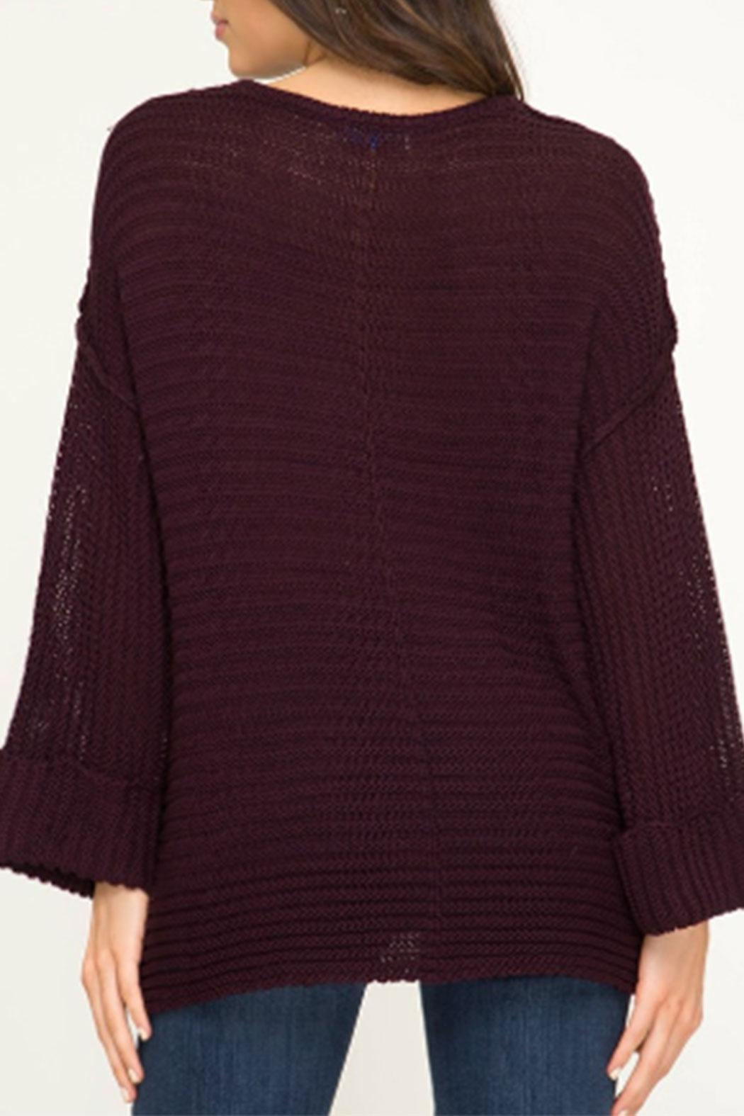 She + Sky Hi-Lo V-Neck Sweater - Front Full Image