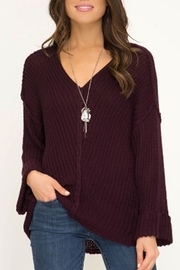 She + Sky Hi-Lo V-Neck Sweater - Front cropped
