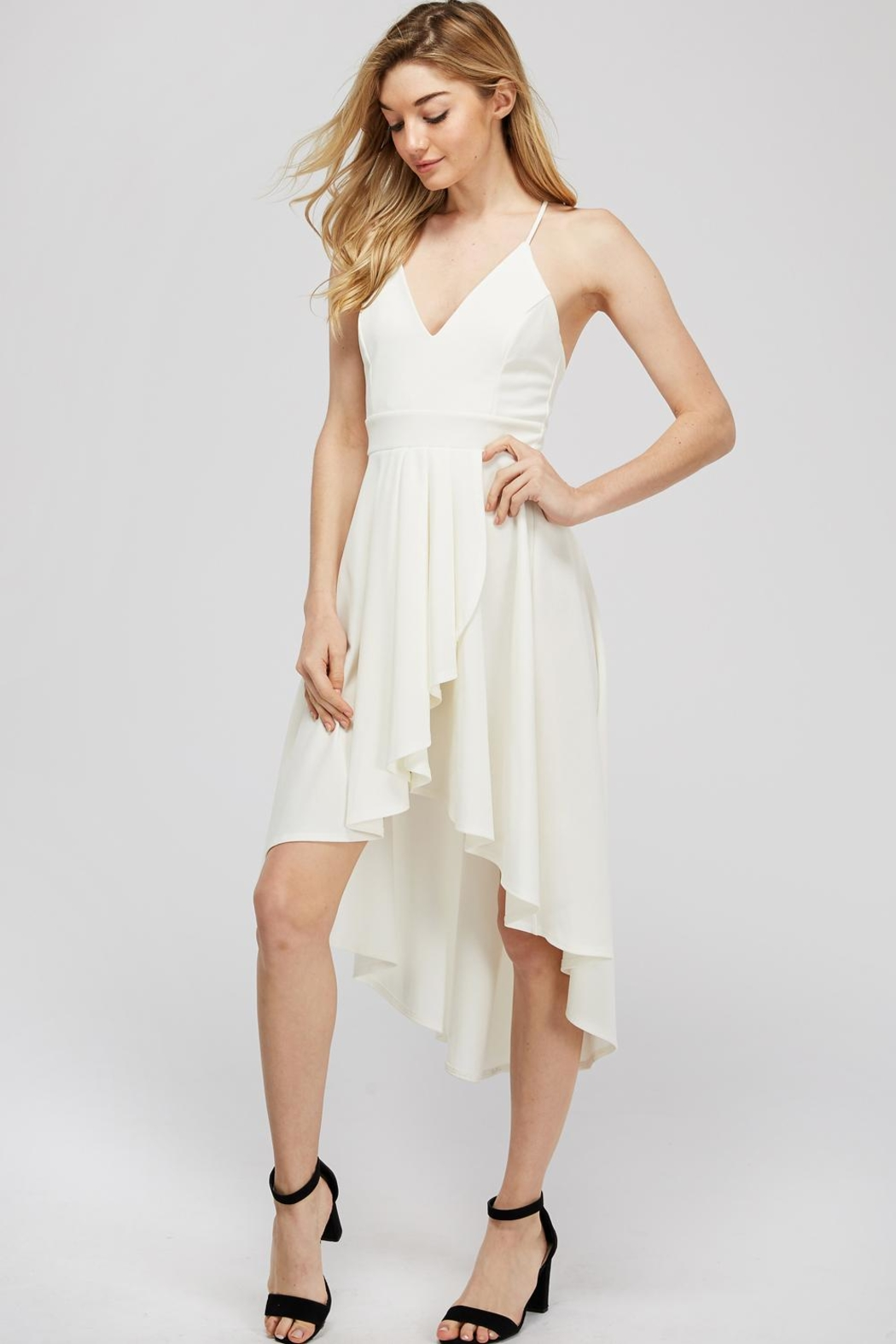 Lovely Day Hi-Lo White Dress - Side Cropped Image