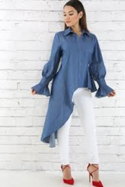 cq by cq Hi-Low Denim Blouse - Product Mini Image