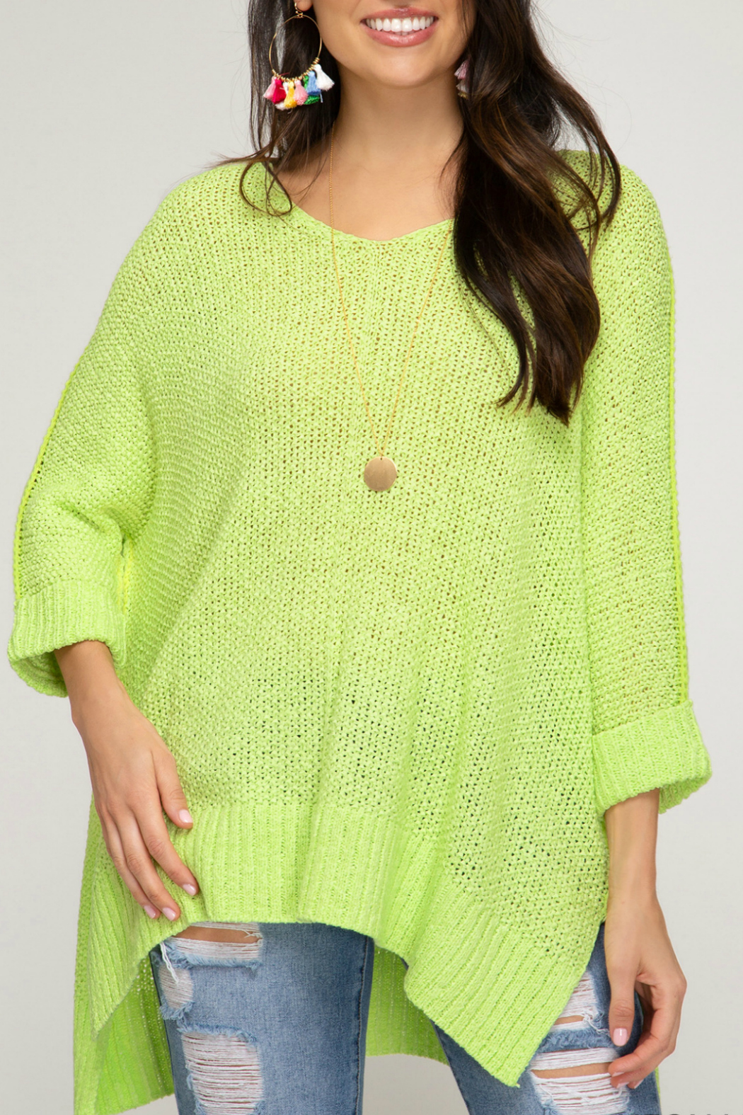 She + Sky HI LOW KNIT SWEATER TOP - Front Cropped Image