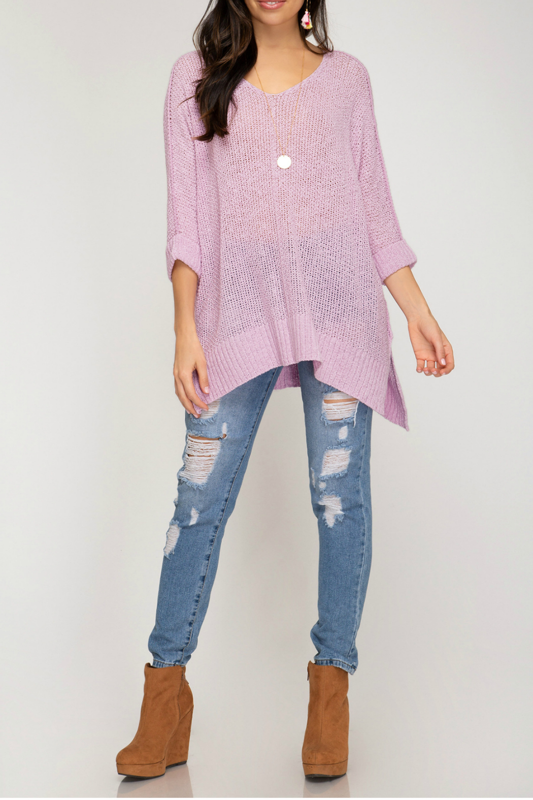 She + Sky HI LOW KNIT SWEATER TOP - Front Full Image