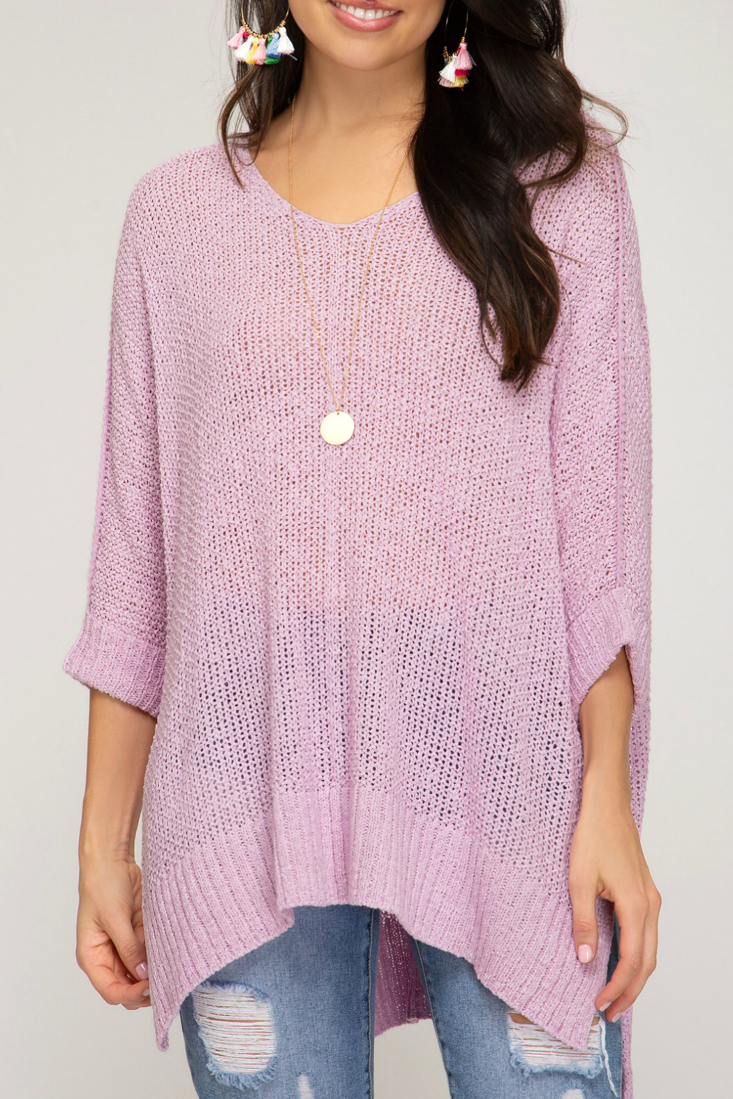 She + Sky HI LOW KNIT SWEATER TOP - Main Image