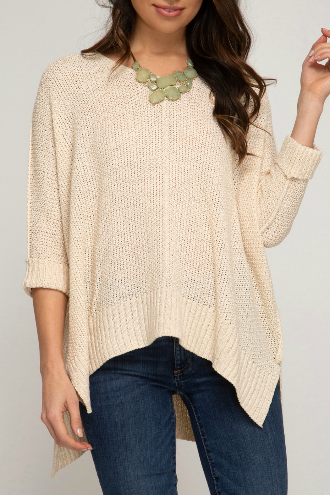 She & Sky  Hi low sweater - Front Cropped Image
