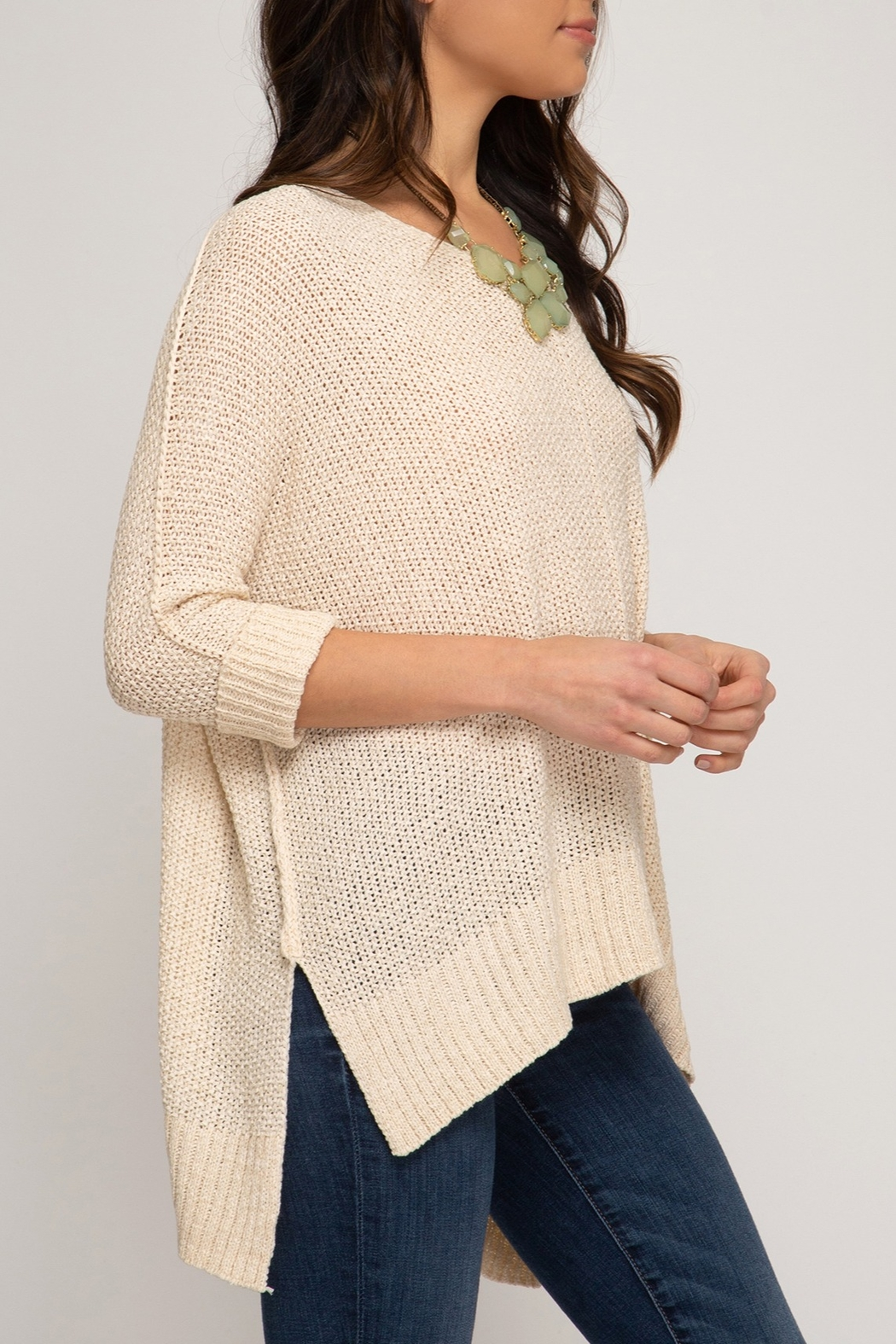 She + Sky Hi Low Sweater - Front Full Image