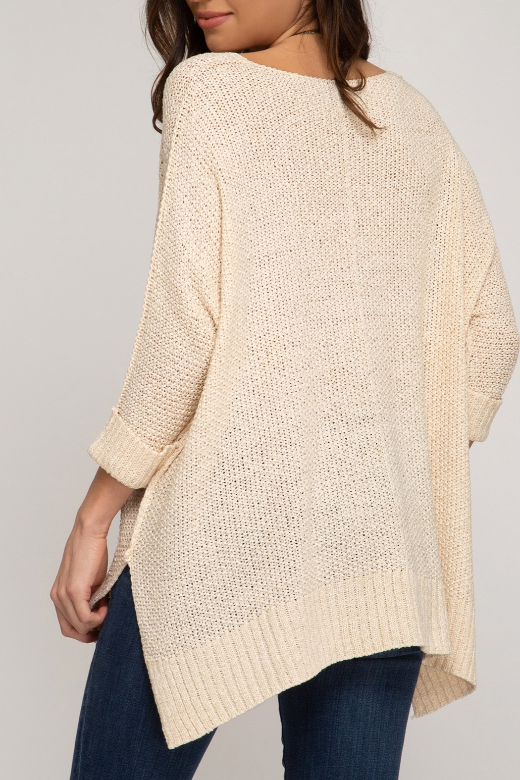 She + Sky Hi Low Sweater - Side Cropped Image