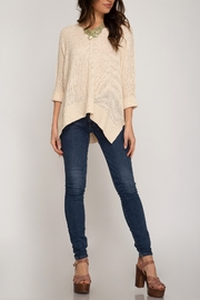 She + Sky Hi Low Sweater - Back cropped