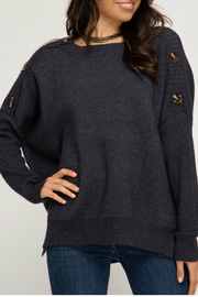 She & Sky  HI LOW SWEATER TOP WITH SHOULDER BUTTON DETAILS - Product Mini Image