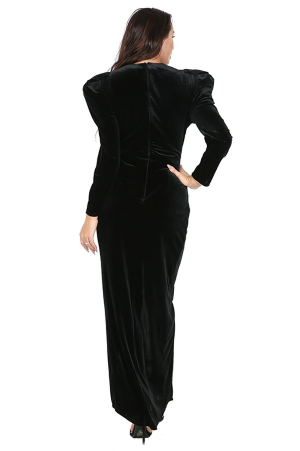 cq by cq Hi-Low Velvet Dress - Side Cropped Image