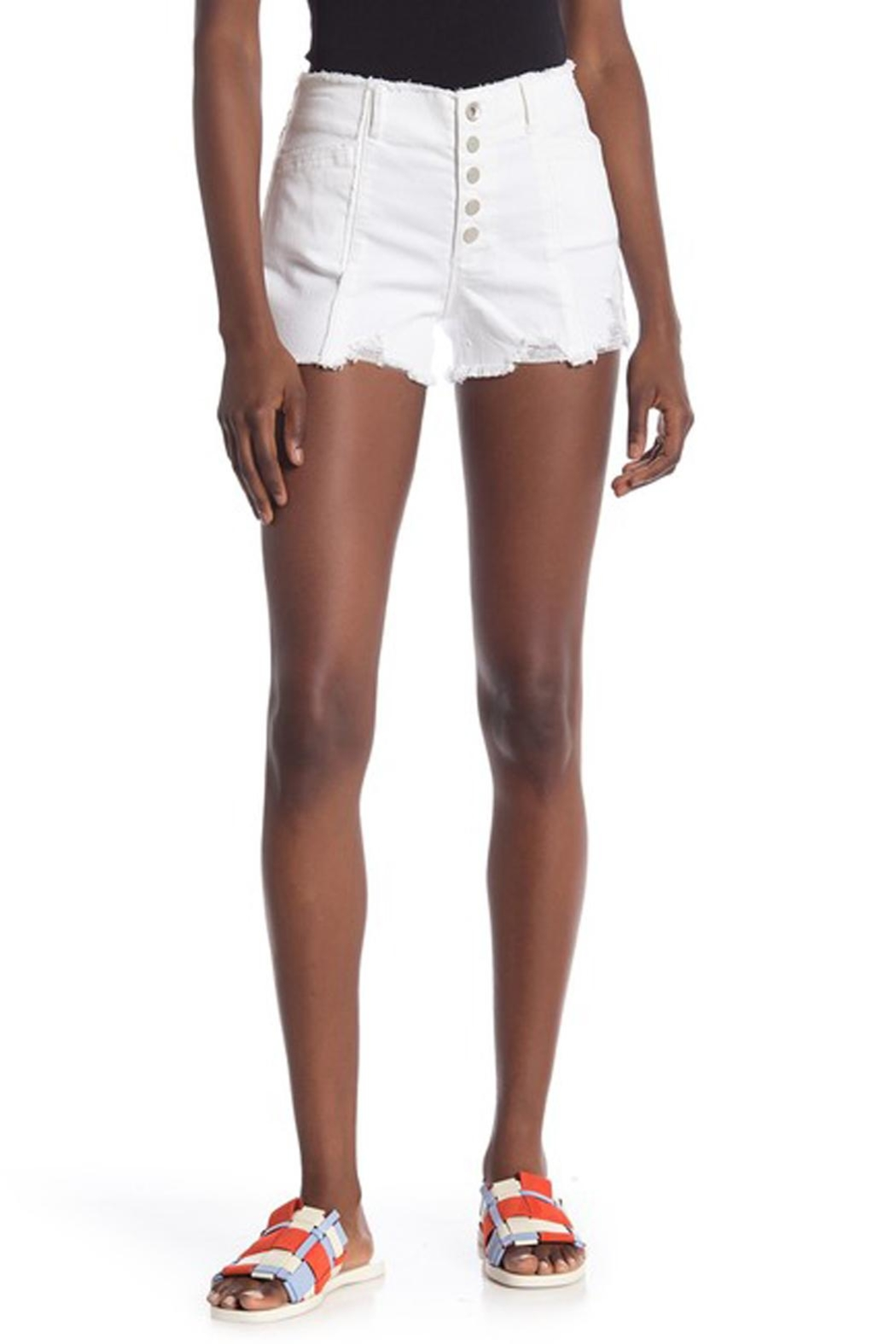 Tractr Blu Hi-Rise Button Shorts - Front Full Image
