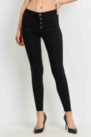 Just Black Denim Hi Rise Button Up skinny - Front cropped