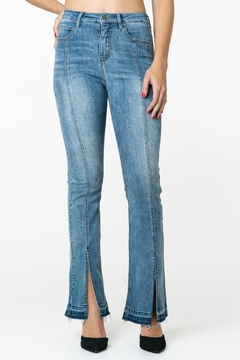 Funky Soul Denim Hi Rise Center Seam Kick Flare Jean - Product List Image