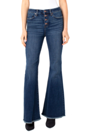 Liverpool  Hi-Rise Flare Jean with Exposed Buttons and Frayed Hem - Product Mini Image