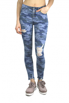 Tractr Blu Hi-Waist Distressed Camo Pant - Product List Image