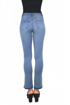 Tractr Hi Waist Straight Leg Jean w Slit Hem - Alternate List Image