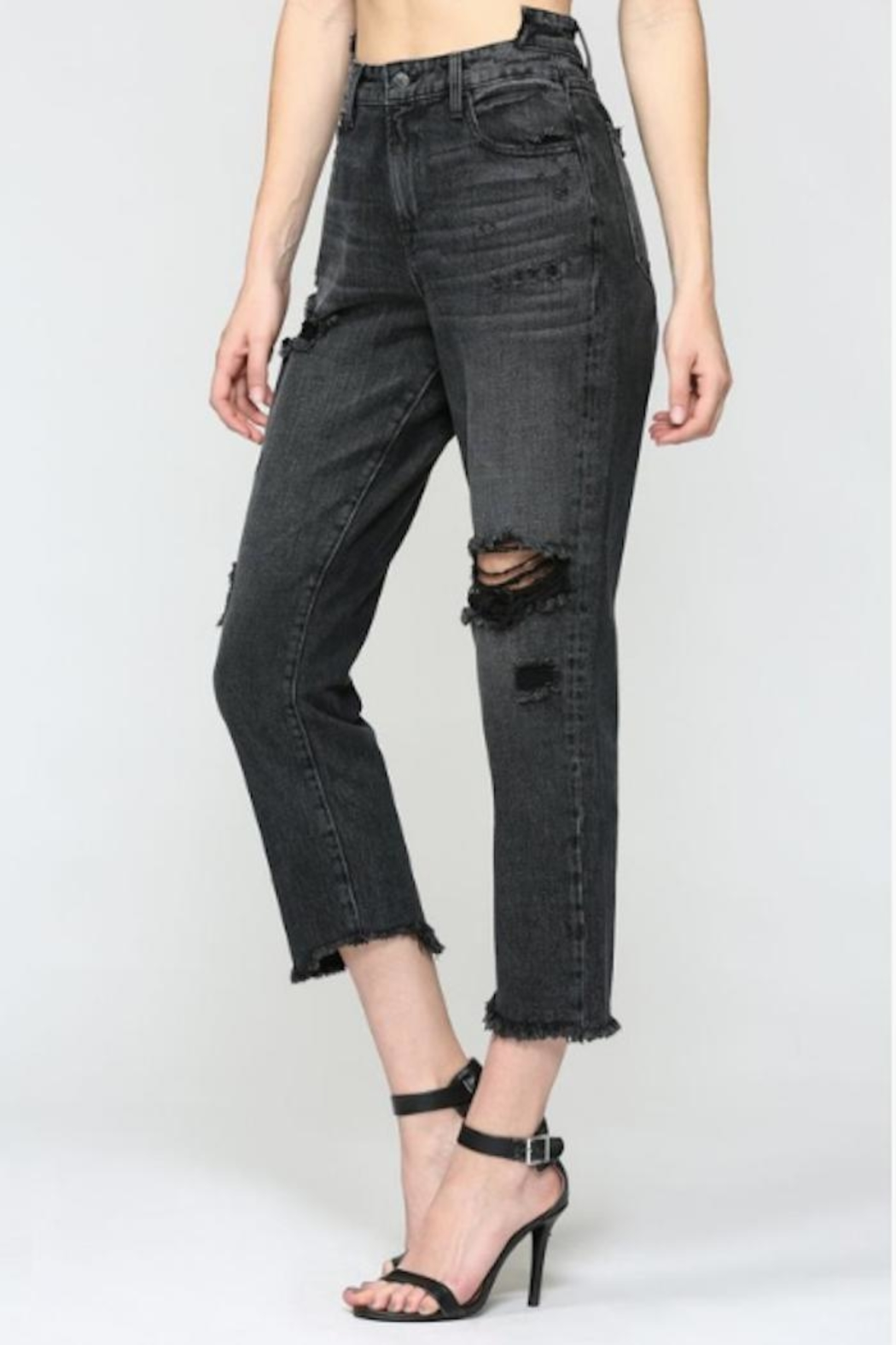 Hidden Jeans Distressed Straight Crop - Front Full Image