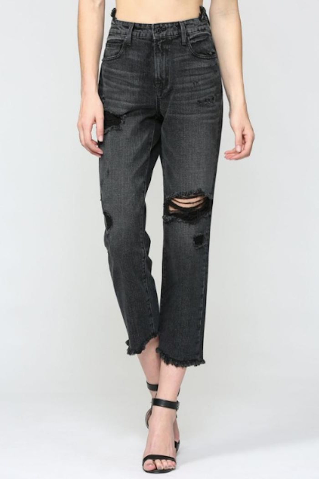 Hidden Jeans Distressed Straight Crop - Main Image