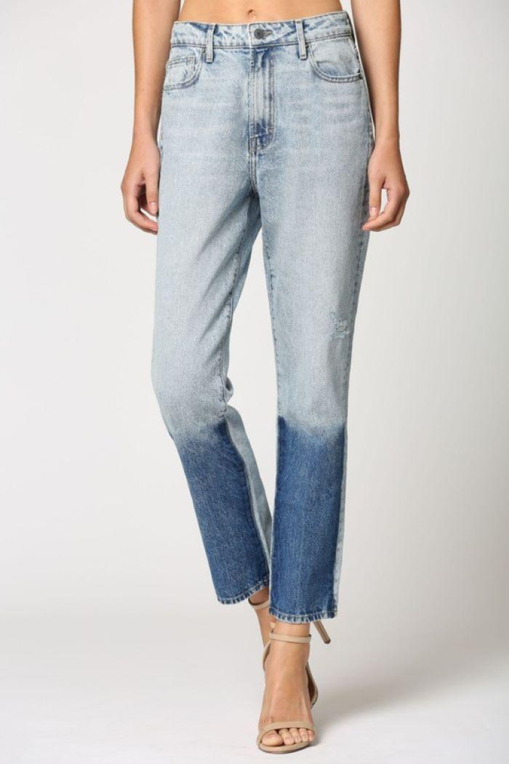 Hidden Jeans Light Wash Two Tone Straight Jeans - Back Cropped Image