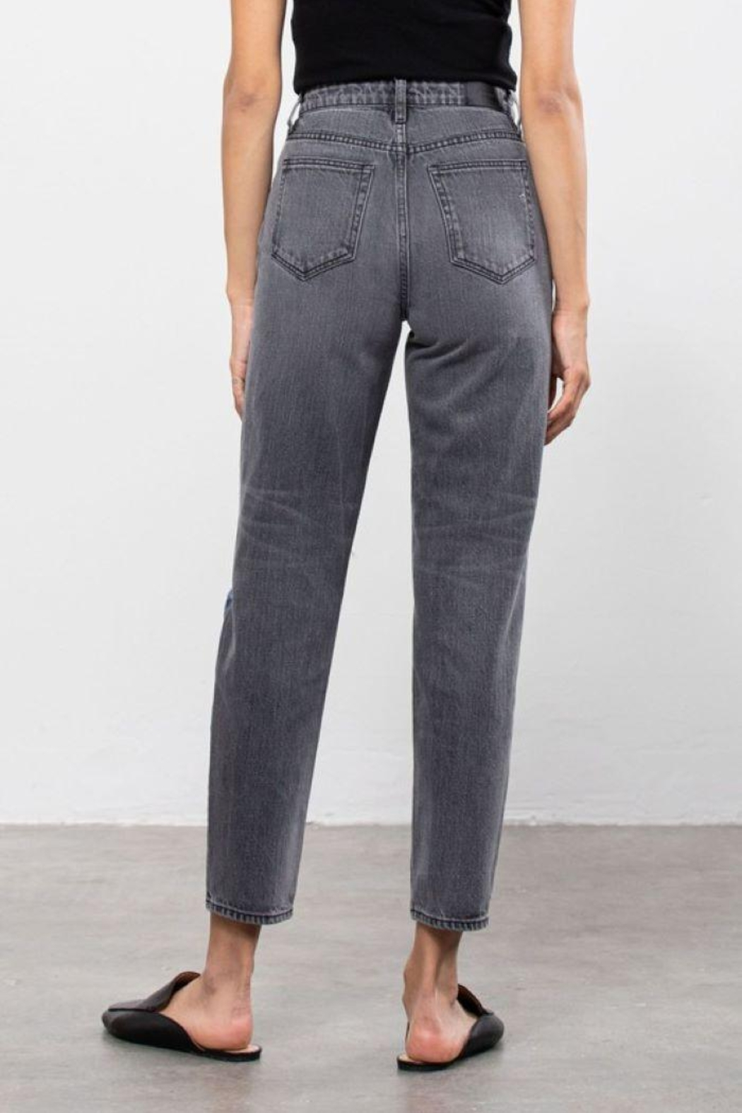 Hidden Jeans Medium Wash Two Tone Distressed Mom Tapered Fit - Side Cropped Image