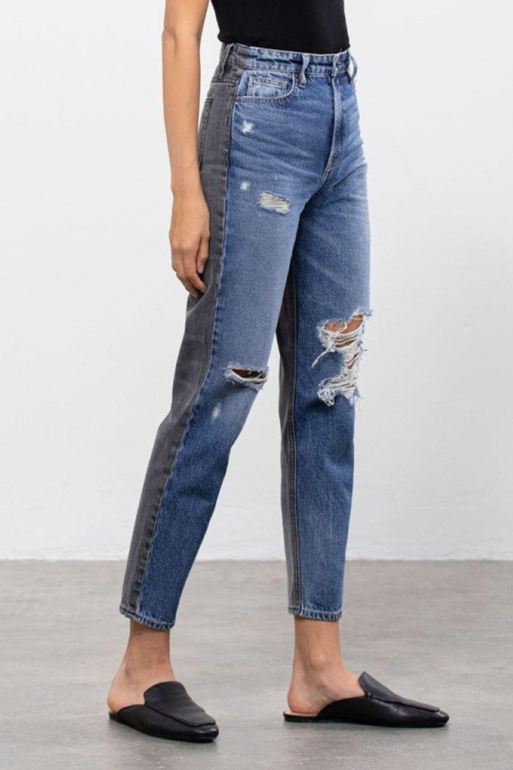 Hidden Jeans Medium Wash Two Tone Distressed Mom Tapered Fit - Back Cropped Image