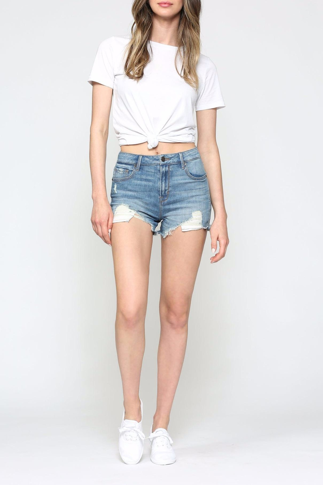 Hidden Jeans Sofie-Distressed Mom Shorts - Main Image