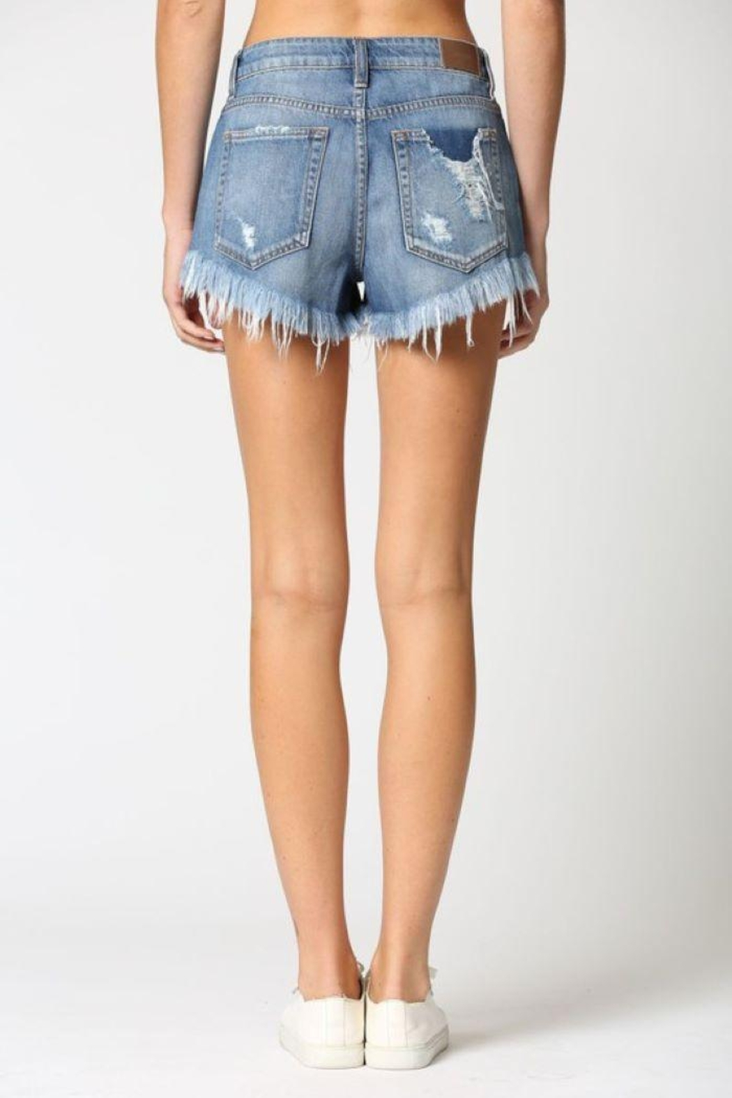 Hidden Jeans Super Frayed High Rise Shorts - Front Full Image