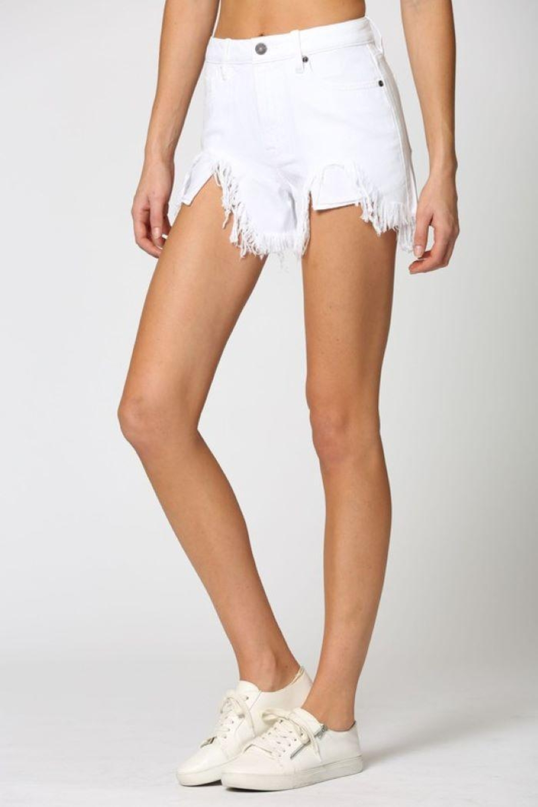Hidden Jeans White Heavy Fray Mom Shorts - Back Cropped Image