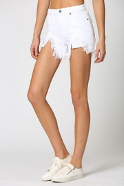 Hidden Jeans White Heavy Fray Mom Shorts - Back cropped