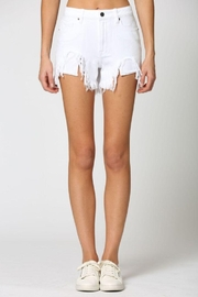 Hidden Jeans White Heavy Fray Mom Shorts - Front cropped