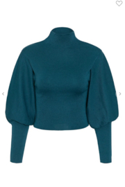 May Blue  High Collar Lantern Sleeve Sweater - Front full body