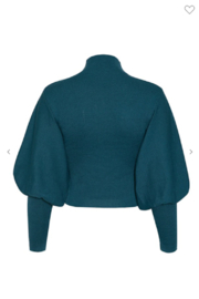 May Blue  High Collar Lantern Sleeve Sweater - Side cropped