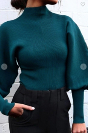 May Blue  High Collar Lantern Sleeve Sweater - Front cropped