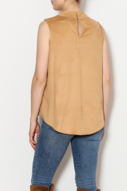 Kay Celine High Collar Suede Tank - Back cropped