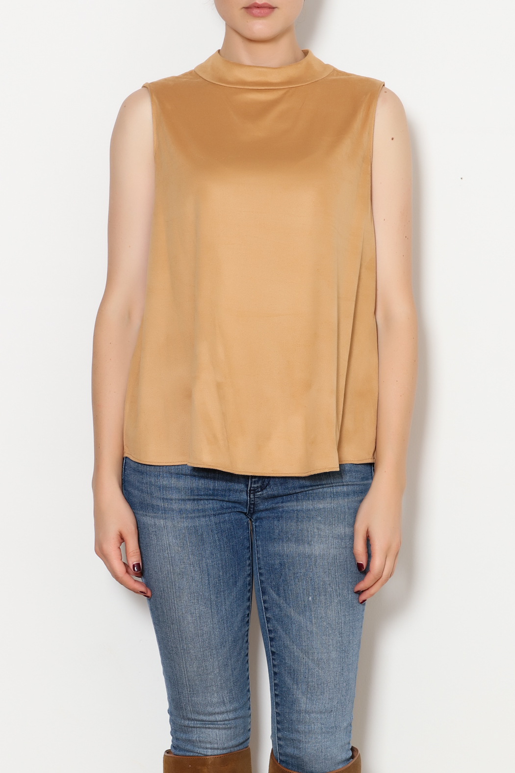 Kay Celine High Collar Suede Tank - Front Full Image