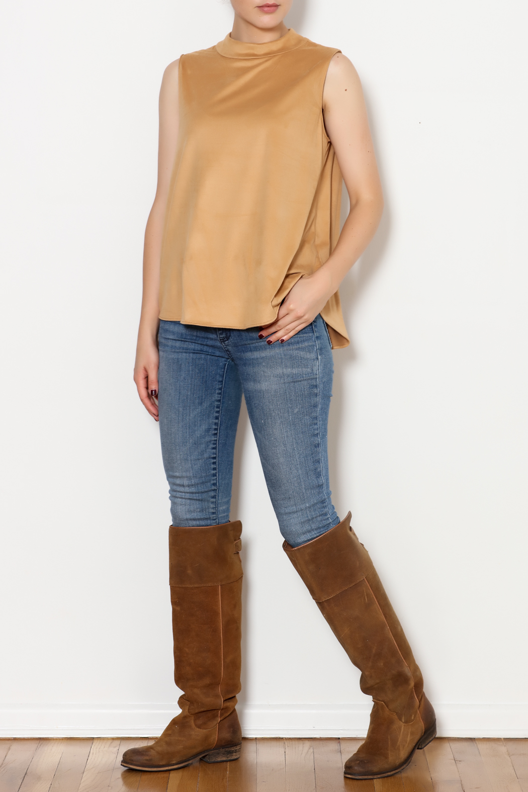 Kay Celine High Collar Suede Tank - Side Cropped Image