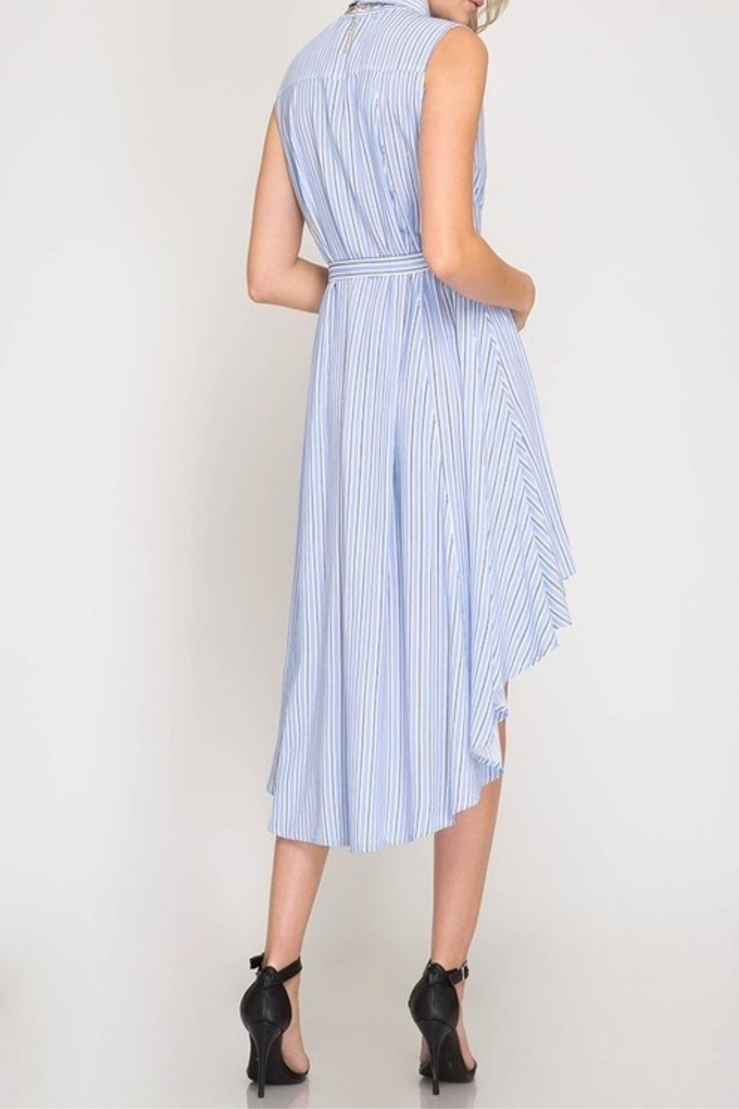 She + Sky Striped Button-Down Shirtdress - Side Cropped Image