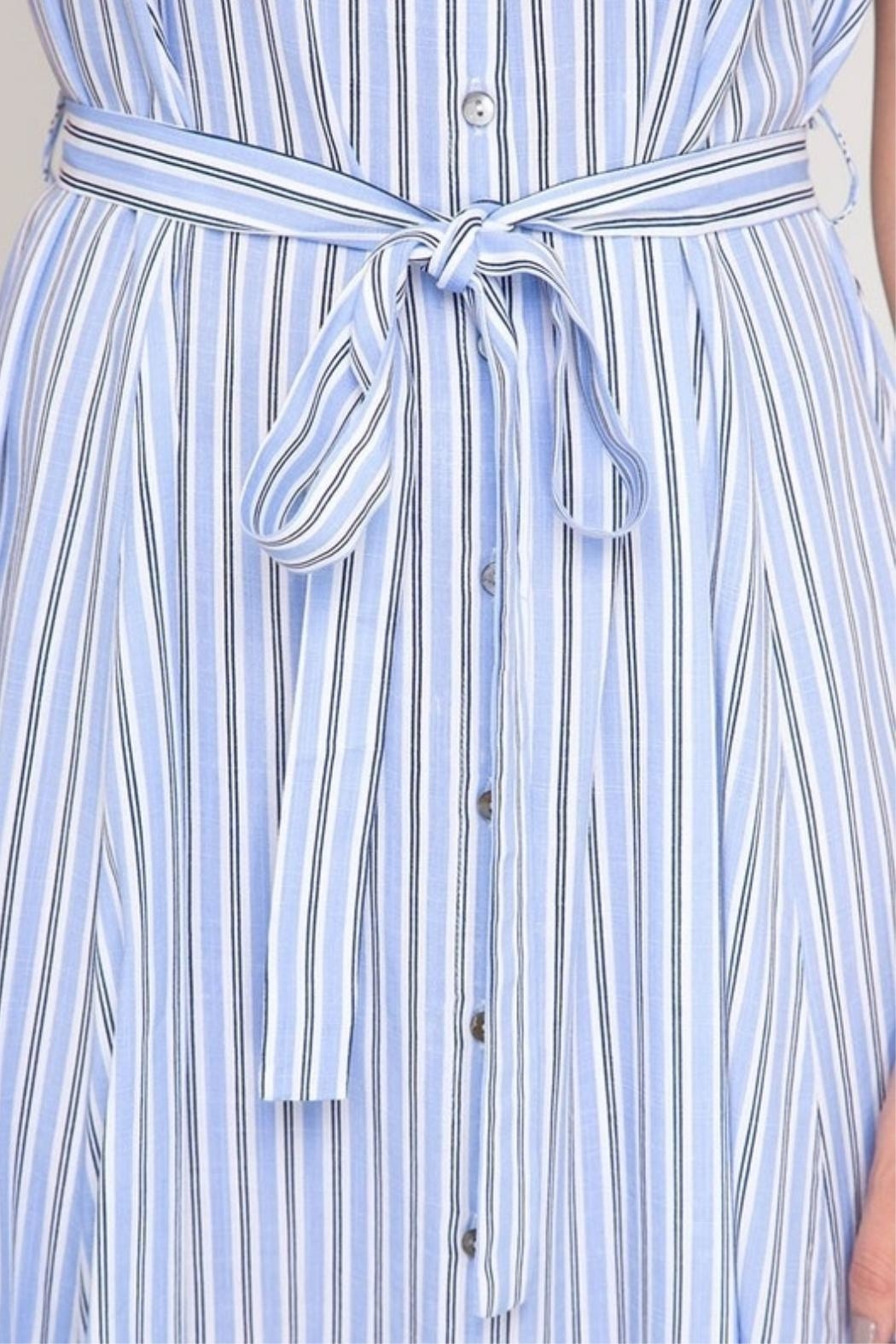 She + Sky Striped Button-Down Shirtdress - Back Cropped Image