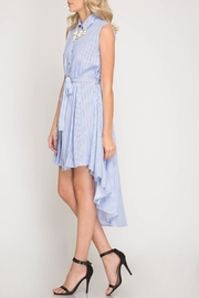 She + Sky Striped Button-Down Shirtdress - Front full body