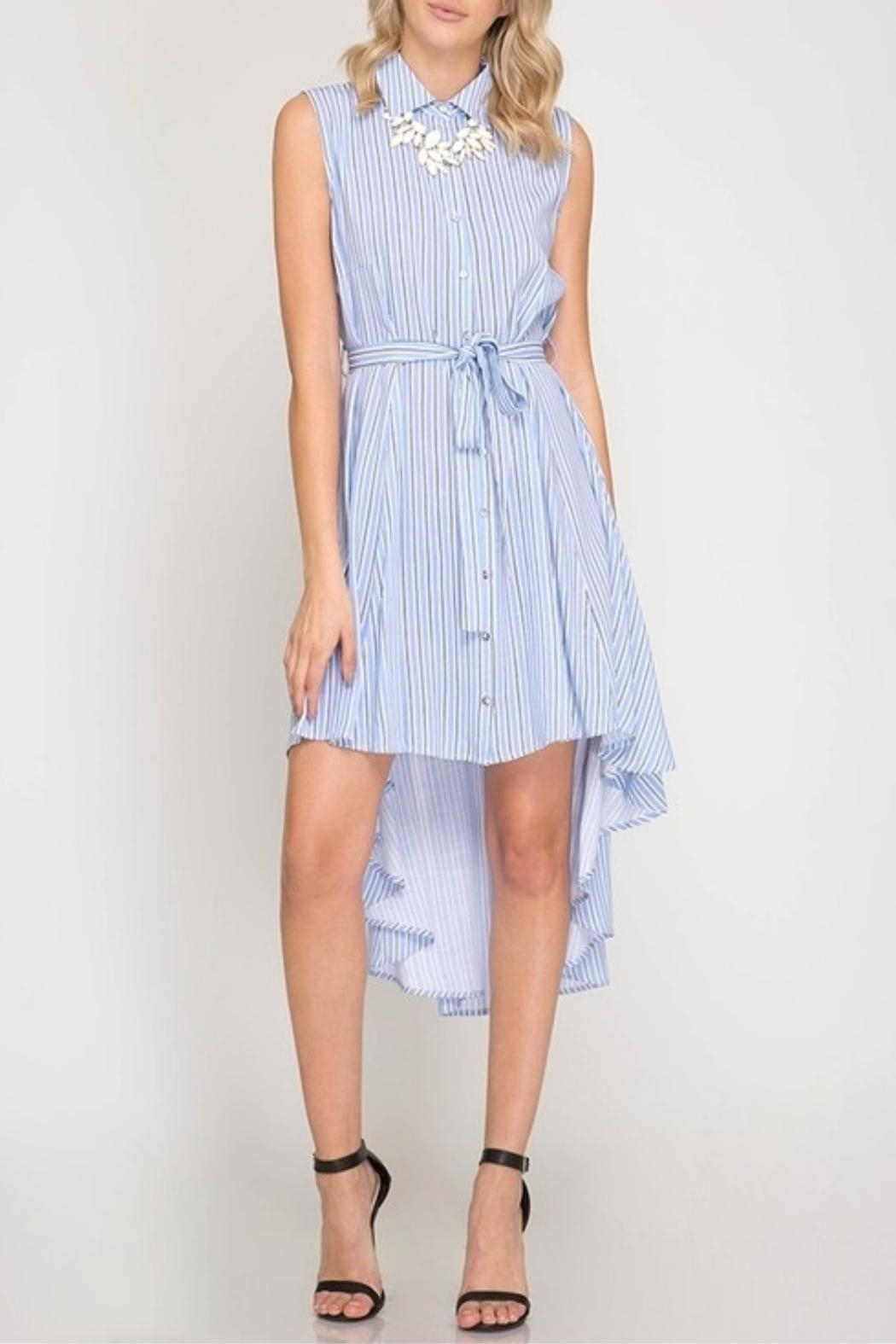 She + Sky Striped Button-Down Shirtdress - Front Cropped Image