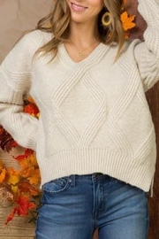 Main Strip High-Low Cable-Knit Sweater - Product Mini Image