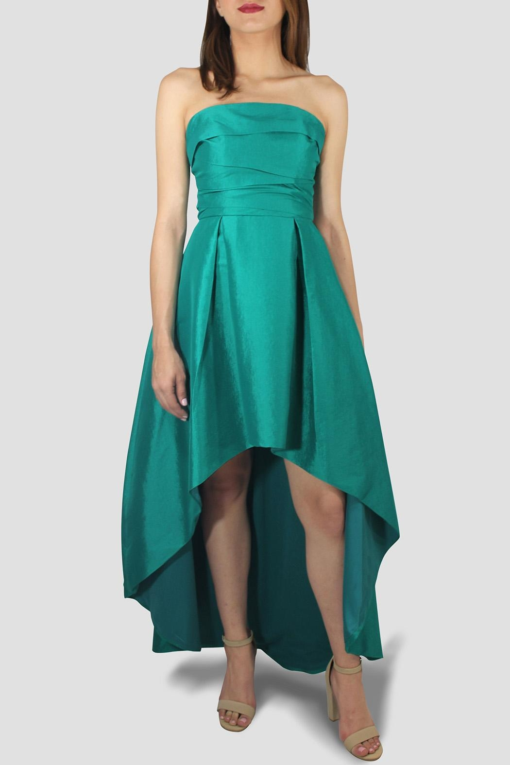 SoZu High-Low Draped Strapless - Front Cropped Image