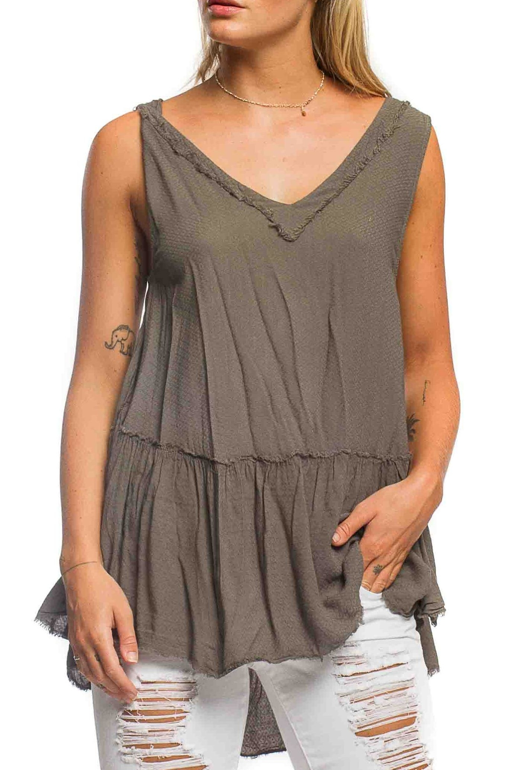 Anama High-Low Peplum Tank - Front Cropped Image