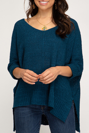 She + Sky High-Low Slouchy Knit Sweater - Front cropped