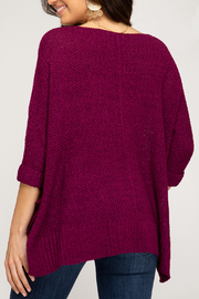 She + Sky High-Low Slouchy Knit Sweater - Front full body