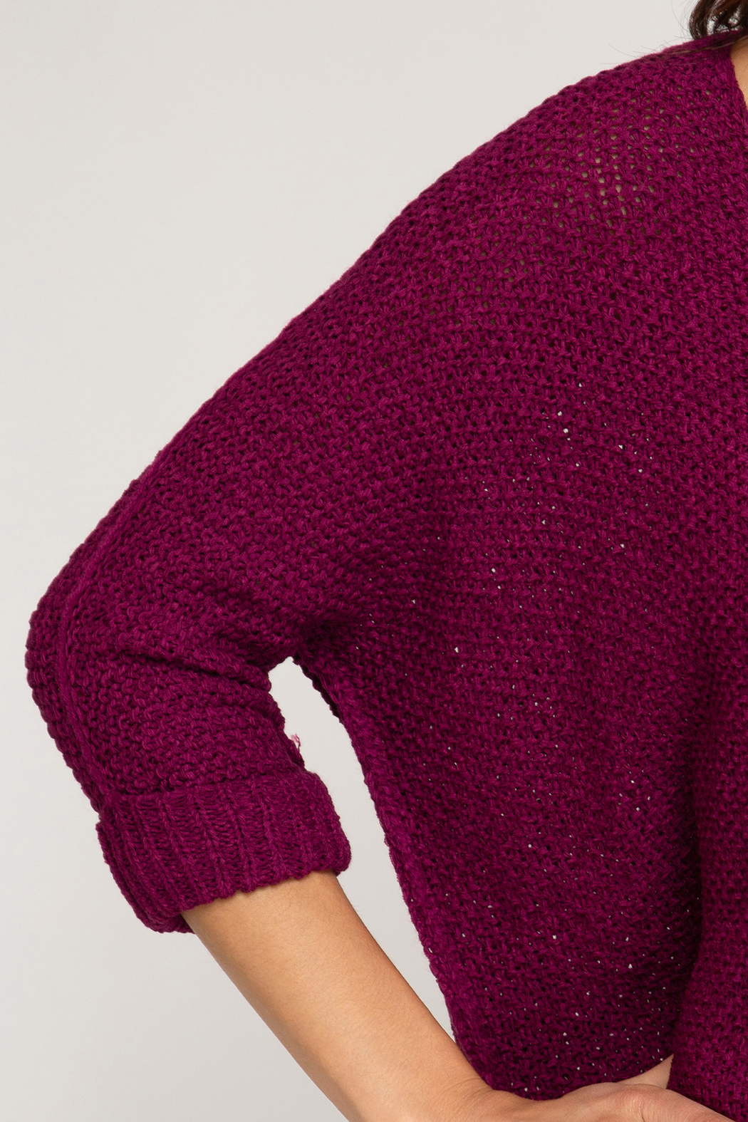She + Sky High-Low Slouchy Knit Sweater - Side Cropped Image