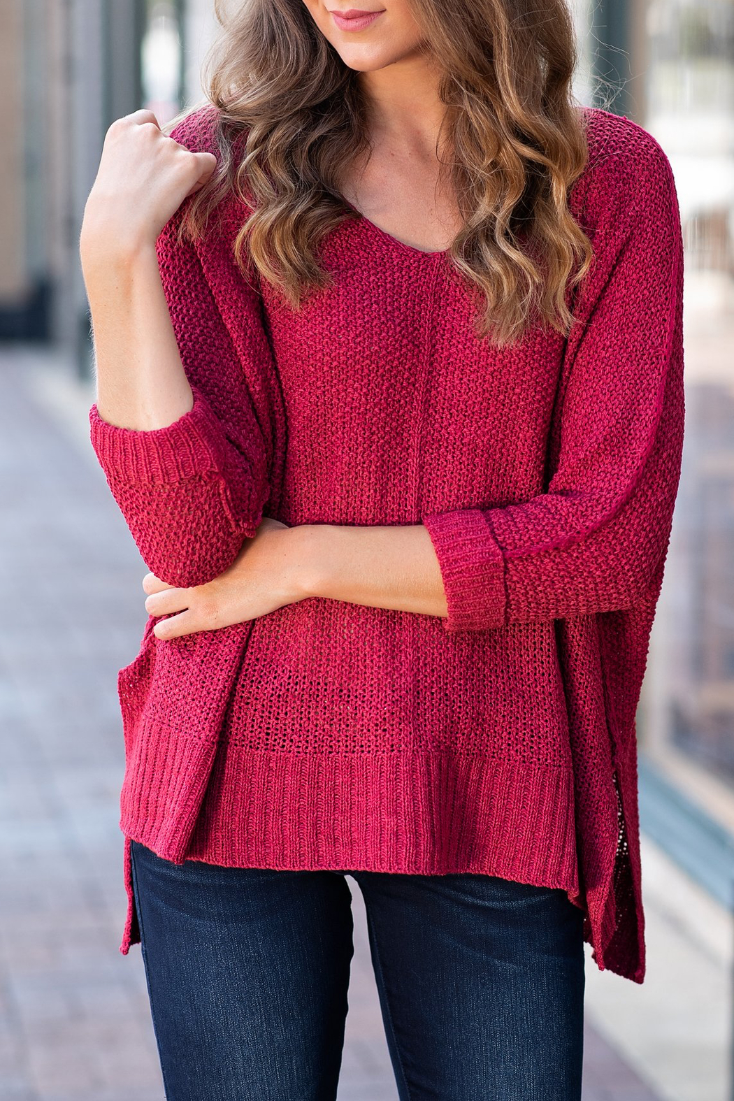 She + Sky High-Low Slouchy Knit Sweater - Front Full Image