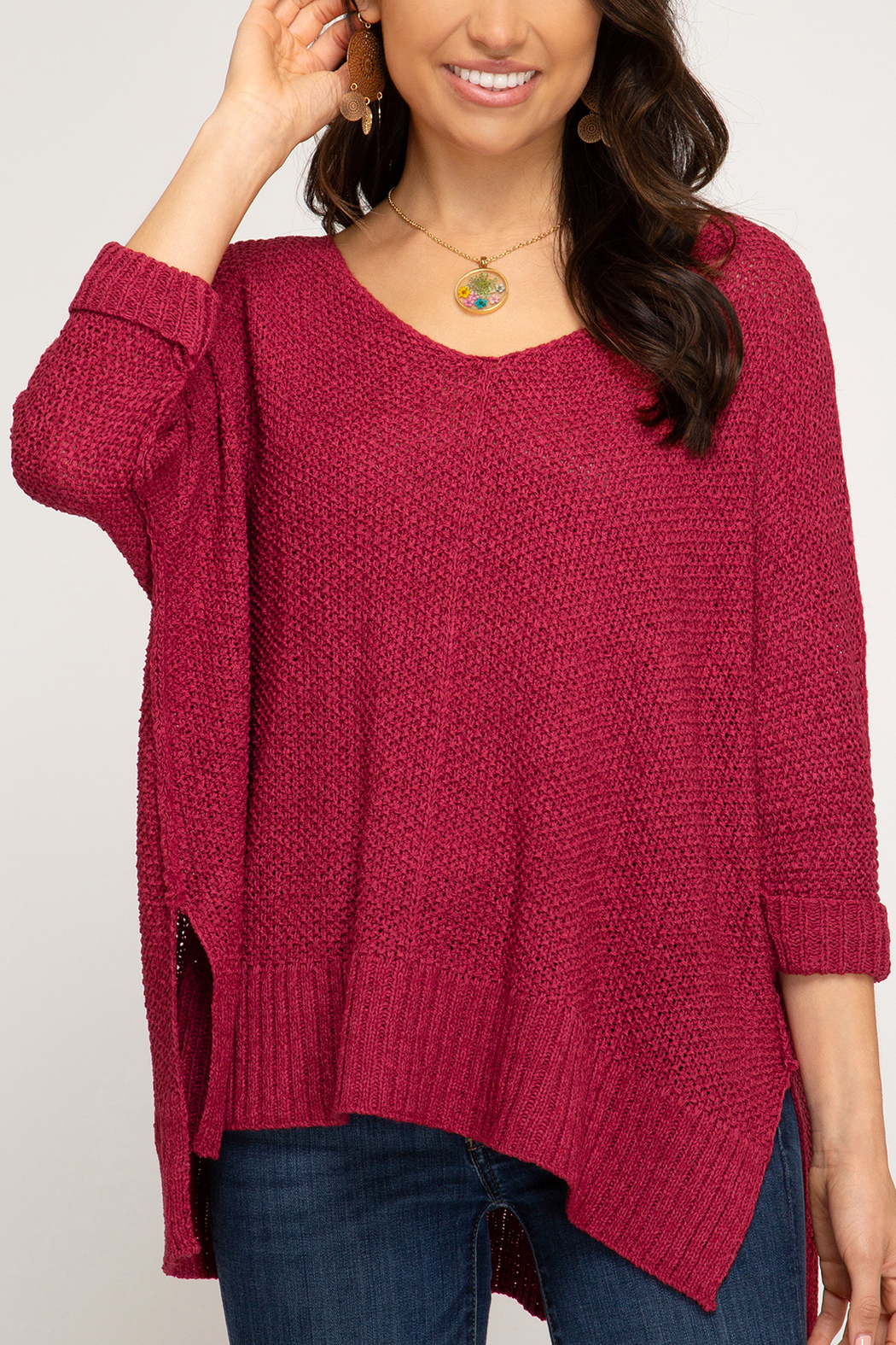 She + Sky High-Low Slouchy Knit Sweater - Back Cropped Image