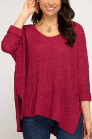She + Sky High-Low Slouchy Knit Sweater - Back cropped