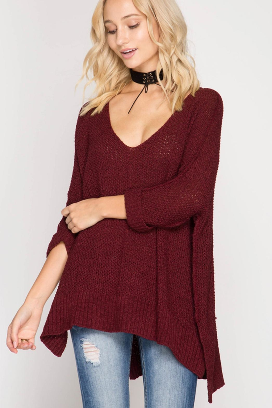 She + Sky High-Low Slouchy Sweater - Main Image